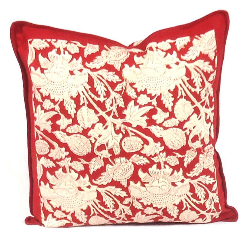 AMARNATH RED 7832 Hand Block Printed Cushion Covers 40 x 40 cms | Block Printed Cushion
