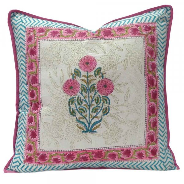Hand Block Printed Cotton Cushion Cover 40x40 cms | Flower Candy 102320