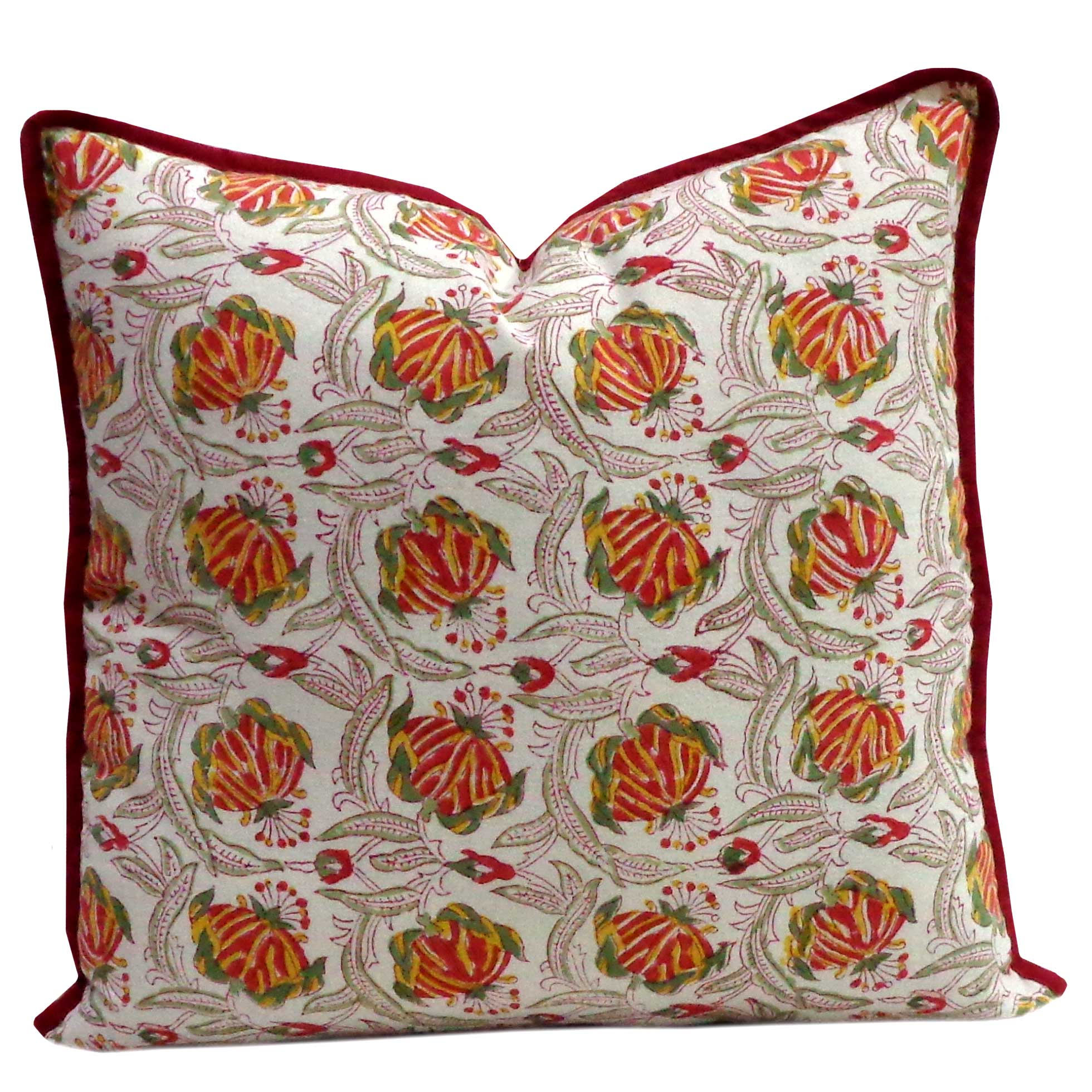 Hand Block Printed Cotton Cushion Cover 40x40 cms | Frost Mustard Floral 101090