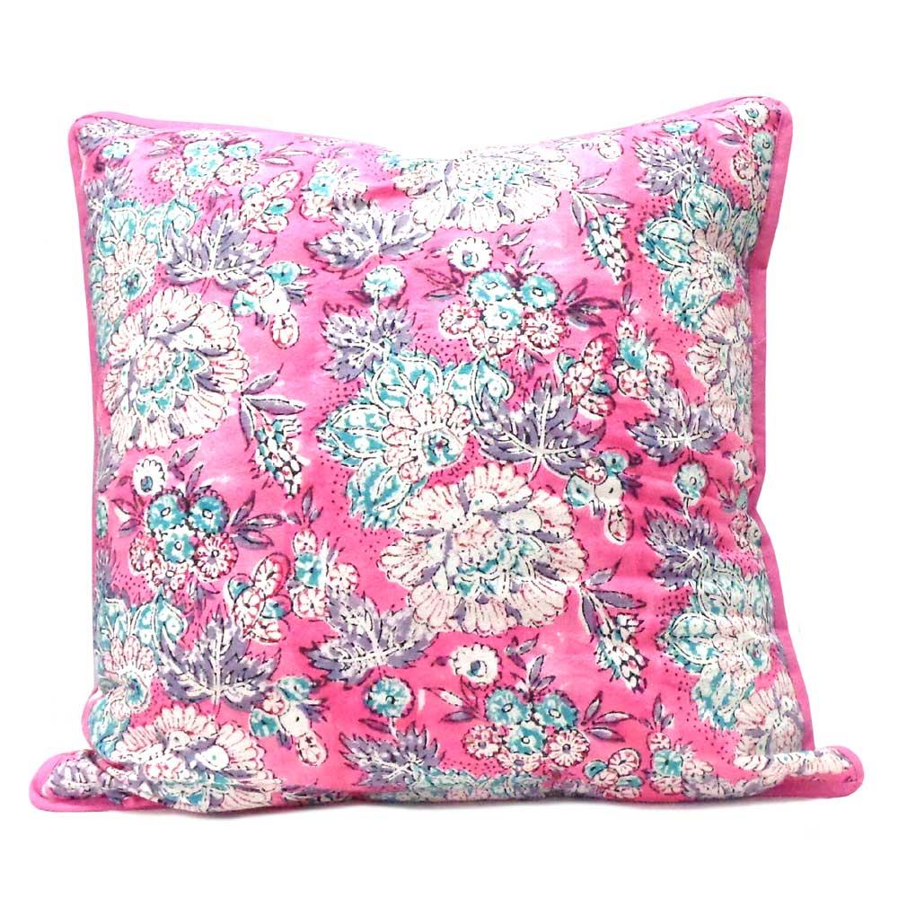 Hand Block Printed Cotton Cushion Cover 40x40 cms | Gerbera Candy 101038