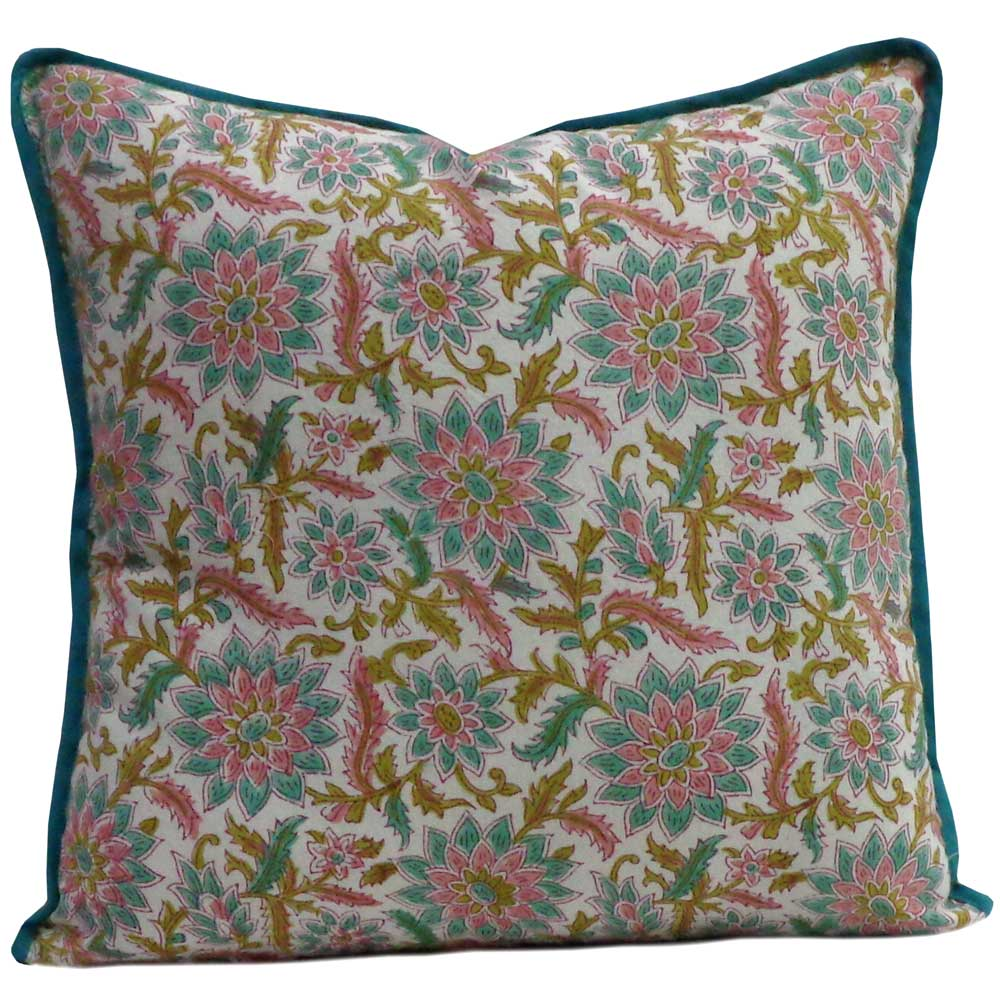 Hand Block Printed Cotton Cushion Cover 40x40 cms | Madhubala Redwood 102543