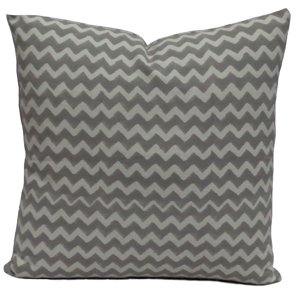 CHEVRON GREY 6258 Hand Block Printed Cushion Covers 45 x 45 cms | Block Printed Cushion