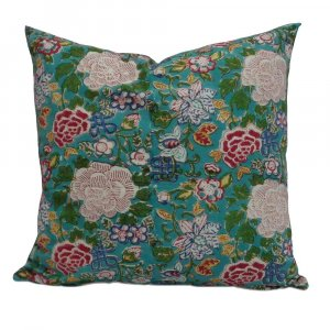Floral Canvas Blue Jade 10468 Cushion Cover 50 x 50 Hand Block Printed