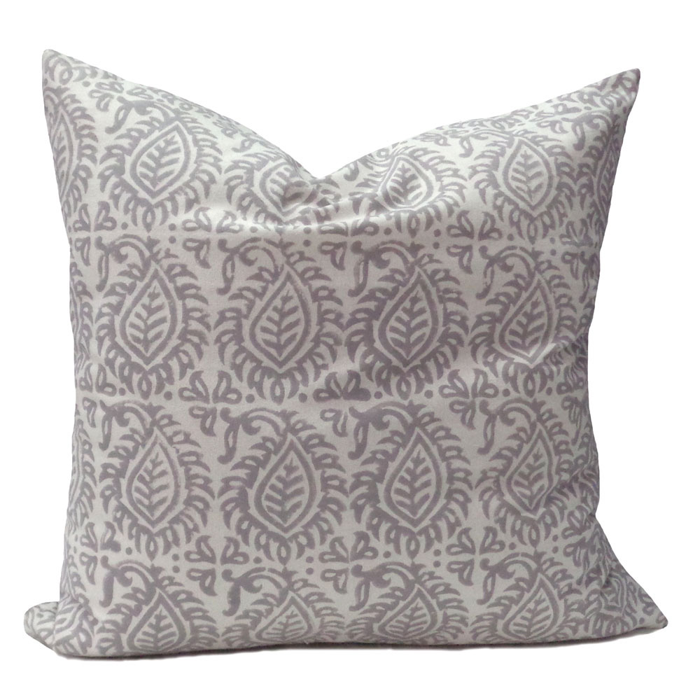 Hand Block Printed Cotton Cushion Cover 50 x 50 | Leaf Grey 105588