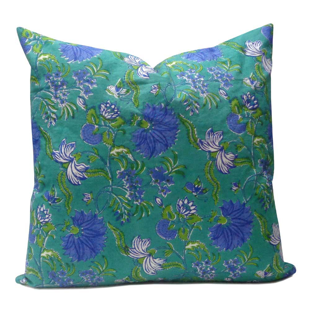 Hand Block Printed Cotton Cushion Cover 50x50 cms | Flower Blossom Sea Green Gud 105894
