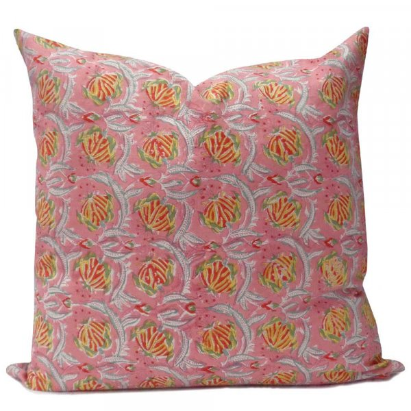 Hand Block Printed Cotton Cushion Cover 50x50 cms | Frost Pink Floral Gud 101117