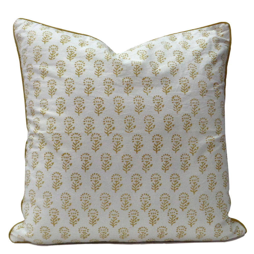 Hand Block Printed Cushion Cover 50 x 50 | Golden Brown Flower Booti 8013