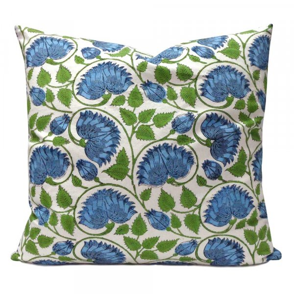 Hand Block Printed Cotton Cushion Cover 50x50 cms | Kamal Aqua Open 101225