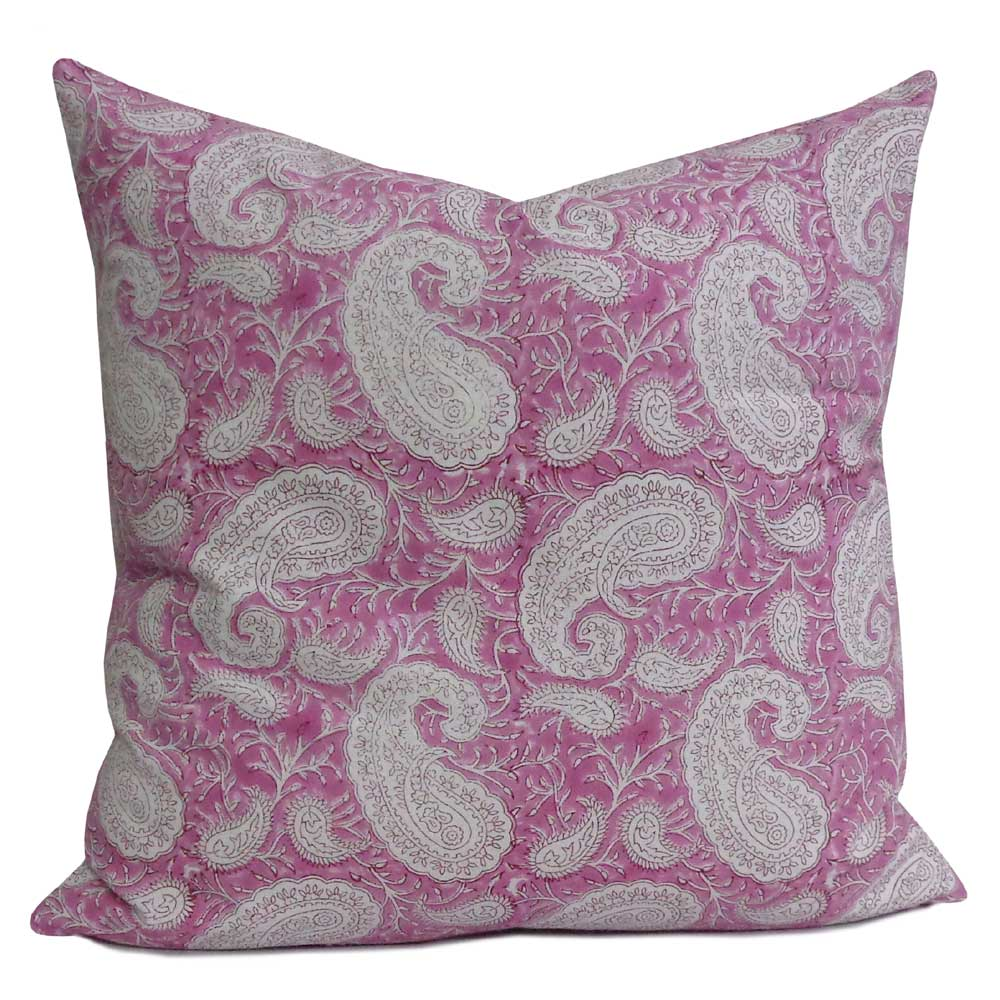 Hand Block Printed Cotton Cushion Cover 50x50 cms | Paisley Pink 200561