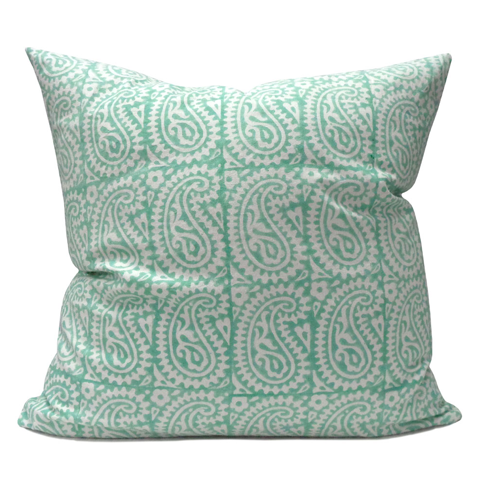 Hand Block Printed Cotton Cushion Cover 50x50 cms | Paisley Teal 101202