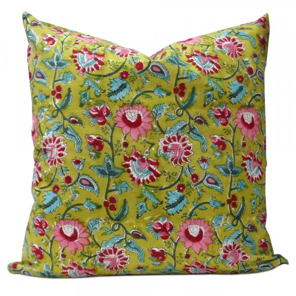 Hand Block Printed Cotton Cushion Cover 50x50 cm | Phuljhari Olive Gud 103790