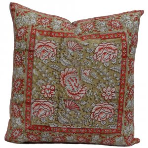 FLORAL 6268 Hand Block Printed Cushion Covers 45 x 45 cms | Block Printed Cushion