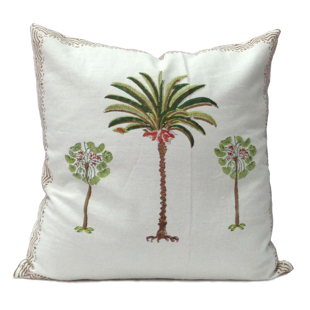 Hand Block Printed Cotton Duck Fabric Cushion Covers 40 x 40 cms | Palm Tree Green 102108