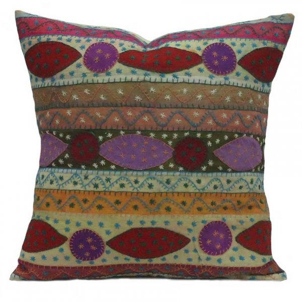 HAND EMBROIDERED JOGI WORK Cushion Cover 1743 | Cushions 40 x 40 cms