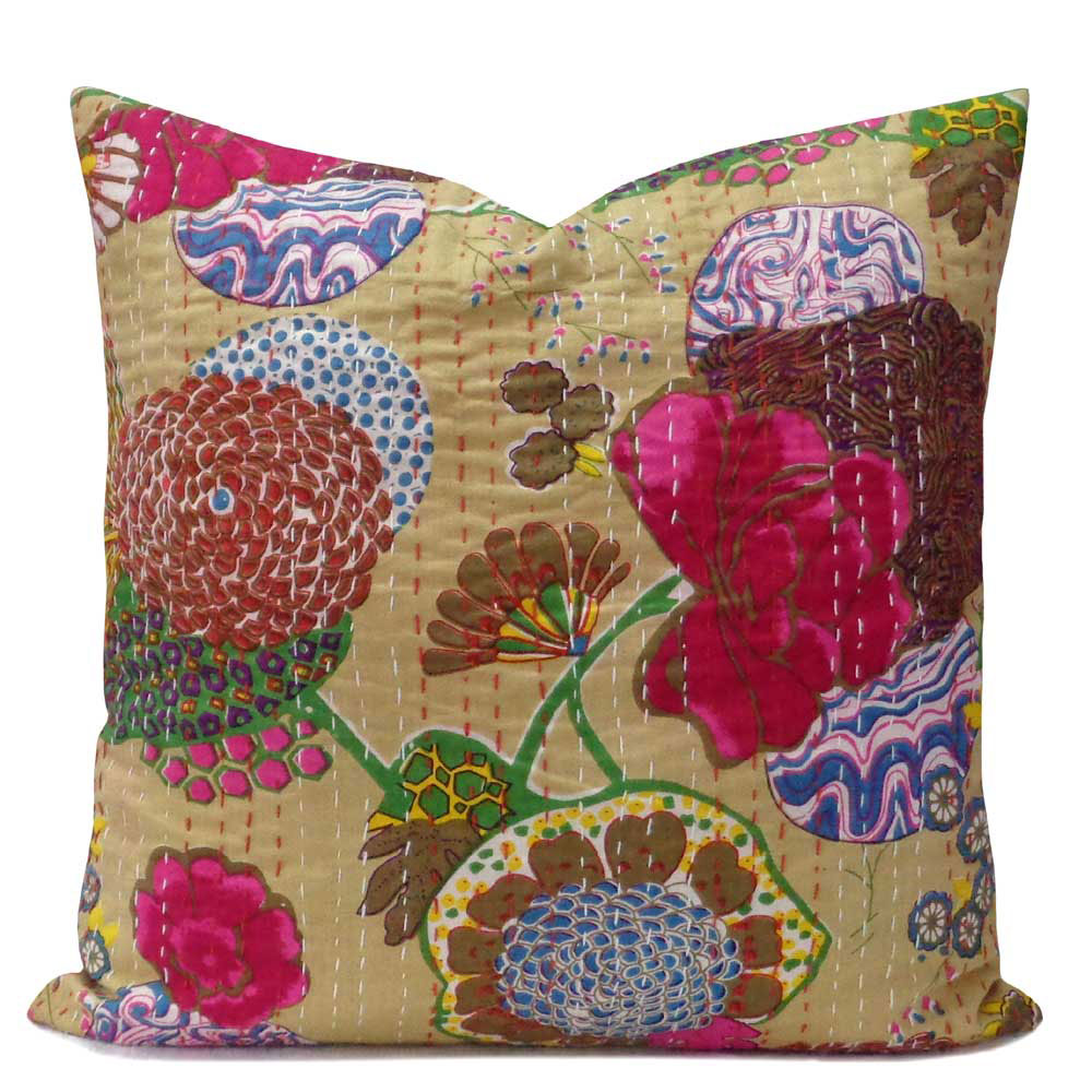 Tropical Design Hand Embroidered Kantha Cushion 45 x 45 cms | Beige 100691