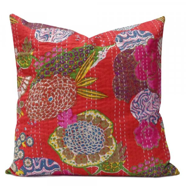 Tropical Design Hand Embroidered Kantha Cushion 45 x 45 cms | Mars Red 100701