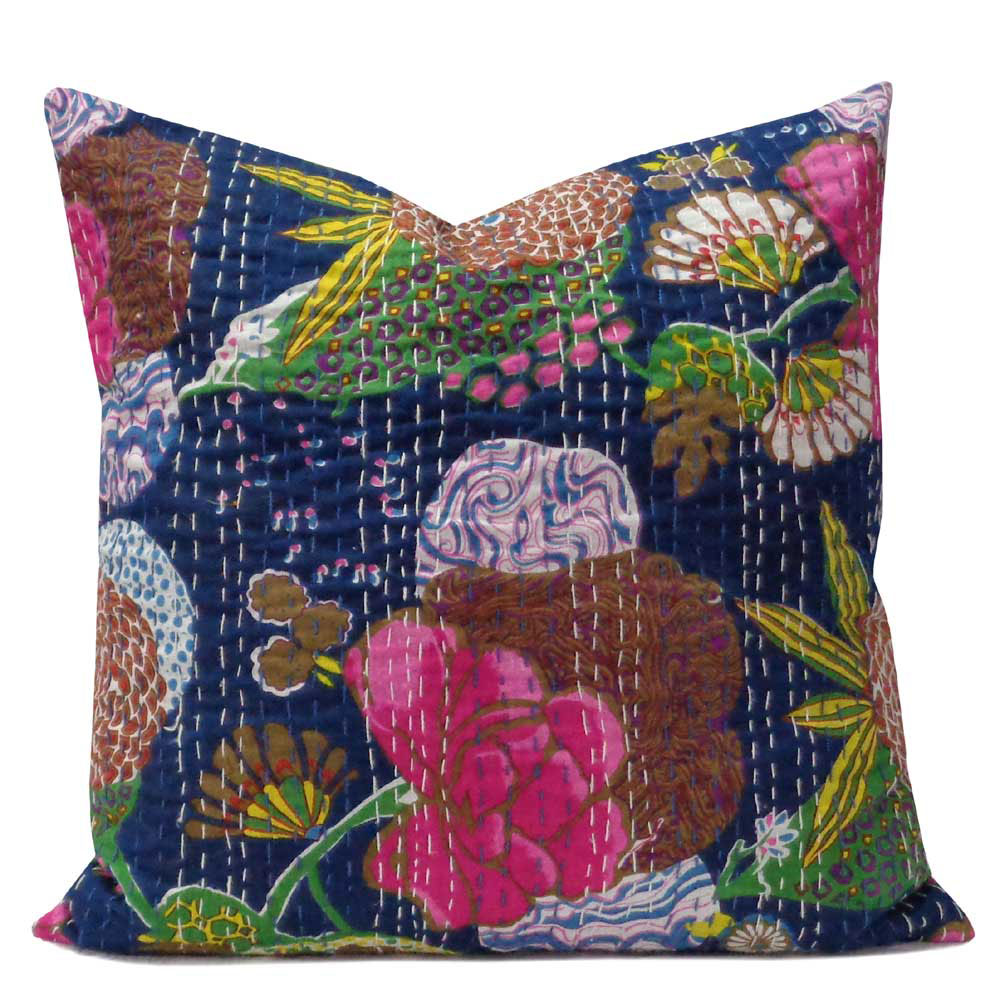 Tropical Design Hand Embroidered Kantha Cushion 45 x 45 cms | Navy Blue 100694