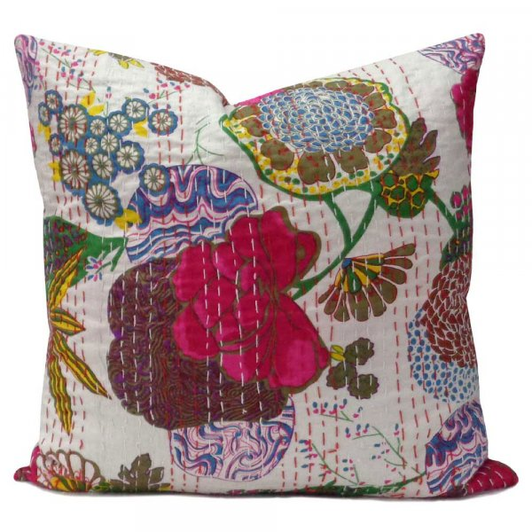 Tropical Design Hand Embroidered Kantha Cushion 45 x 45 cms | White 100689
