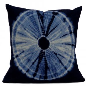 INDIGO SHIBORI 7766 Hand Dyed on Soft Cotton Voile Cushion Covers 40 x 40 cms