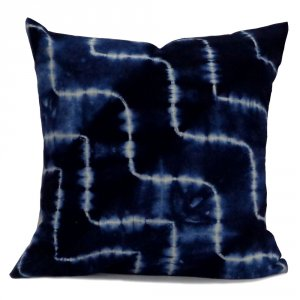INDIGO SHIBORI 7770 Hand Dyed Soft Cotton 20 Sheeting Cushion Covers 40 x 40 cms