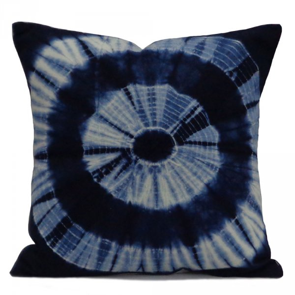 Traditional Design INDIGO SHIBORI 7792 Hand Dyed Soft Cotton 20 Sheeting Cushion Covers 40 x 40 cms