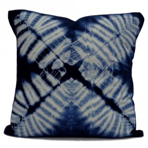 INDIGO SHIBORI 7817 Hand Dyed Blue Style 20 Sheeting Cushion Covers 40 x 40 cms