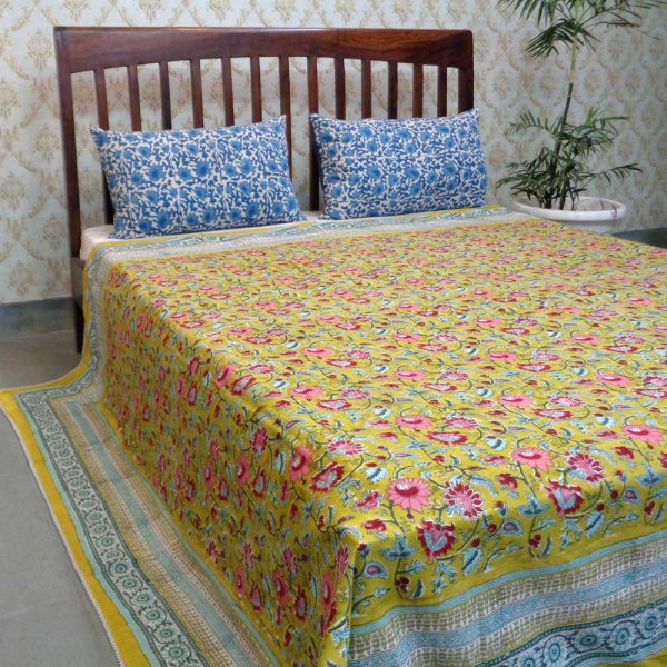 Indian Hand Block Printed Cotton Dohar Queen Size | Phuljhari Olive 106723