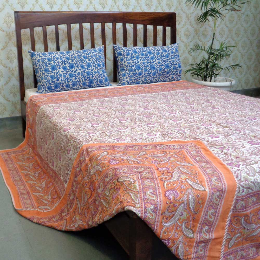 Indian Hand Block Printed Dohar Queen Size | Paisley Delight Pink 106742