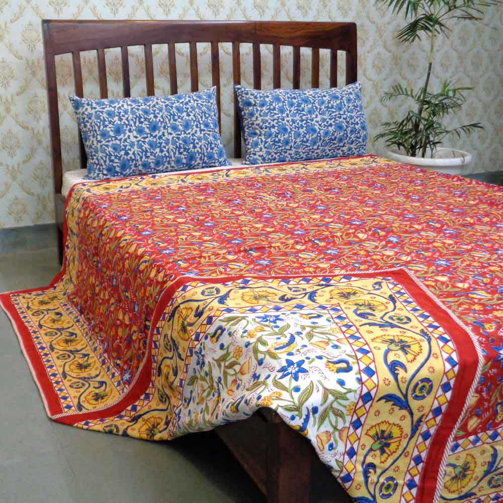 Indian Hand Block Printed Dohar Queen Size | Lal Jhari 106749