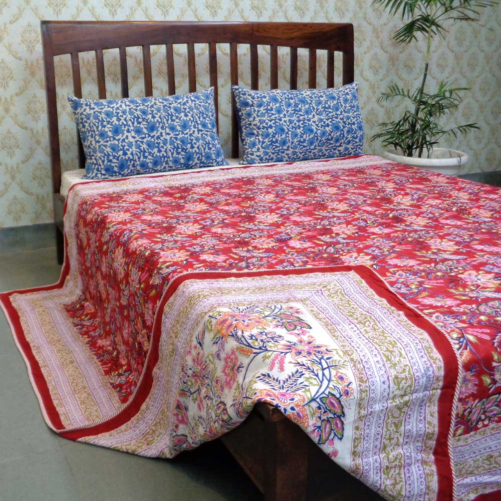 Indian Hand Block Printed Dohar Queen Size | Misty Red 106757