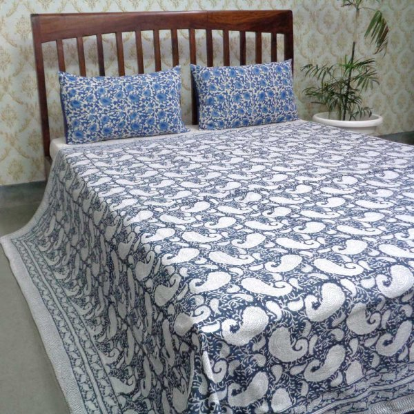 Indian Hand Block Printed Cotton Dohar Queen Size | Ambi Neel 107068