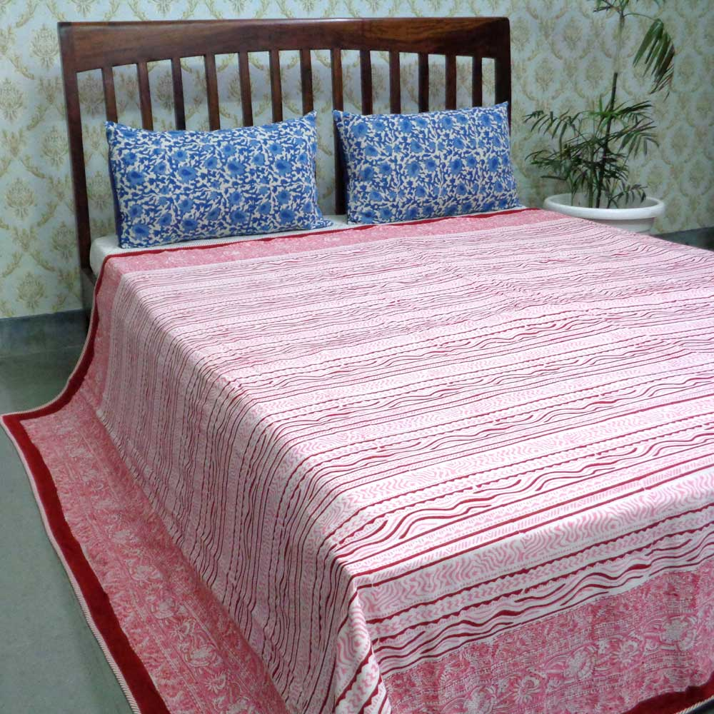 Indian Hand Block Printed Cotton Dohar Queen Size | Blossom Red 107076