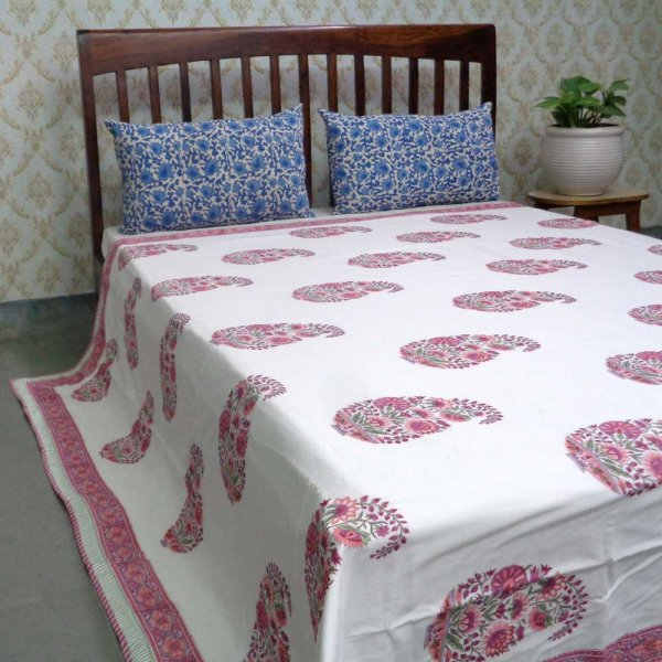 Indian Hand Block Printed Cotton Dohar Queen Size | 107996