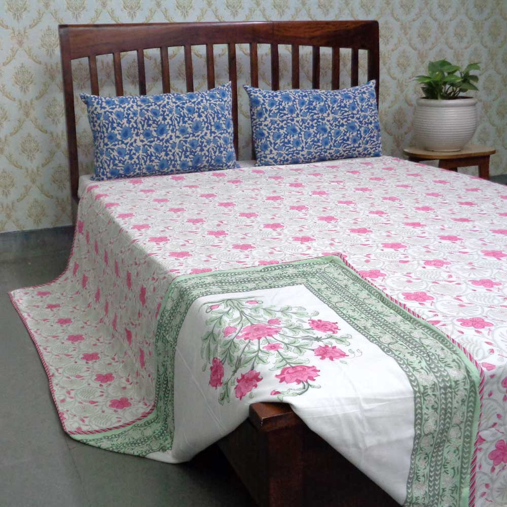 Indian Hand Block Printed Cotton Dohar Queen Size | 108030