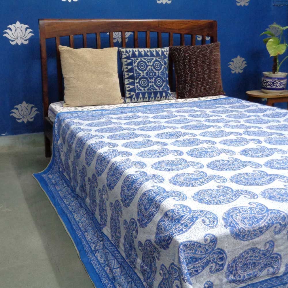 Soft Cotton Comforter Dohar Paisley Blue 9716 Queen Size