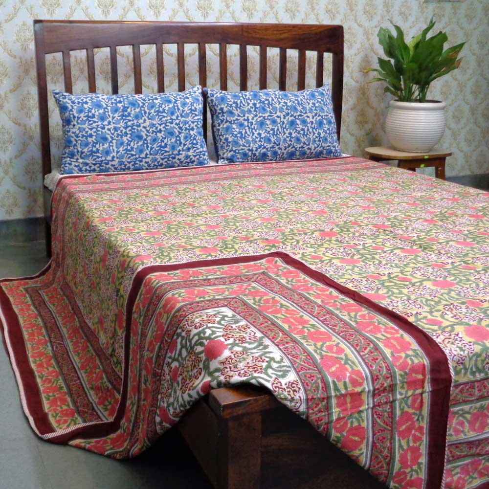 Indian Hand Block Printed Cotton Dohar Queen Size | Daffodils Lime 101079