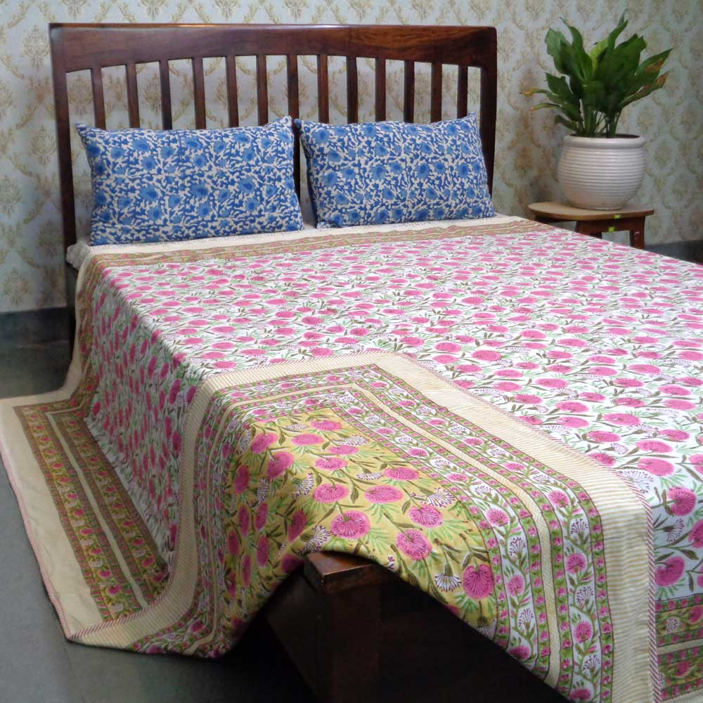 Indian Hand Block Printed Cotton Dohar Queen Size | Desert Blossom Pink 101005