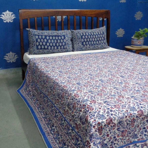 Design JUNGLE KING BLUE 0995 Indian Block Printed  Queen Size
