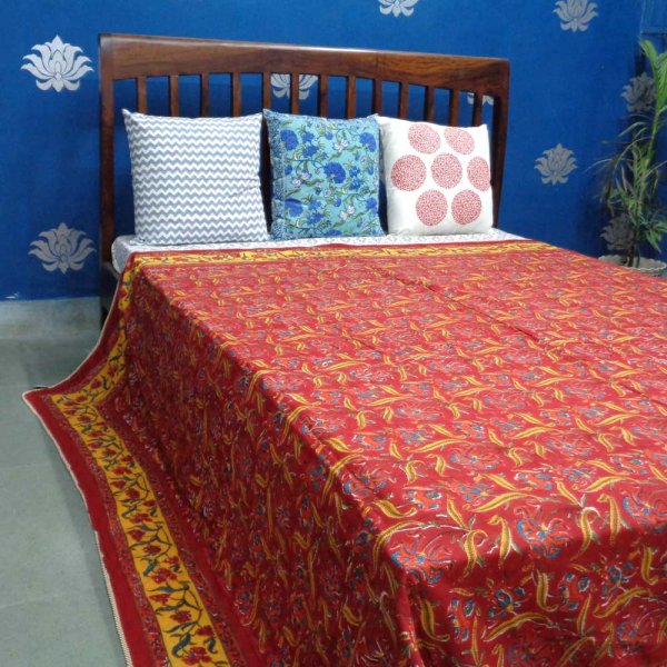 Design RED IRIS LIME 9708 ndian Block printed Queen size