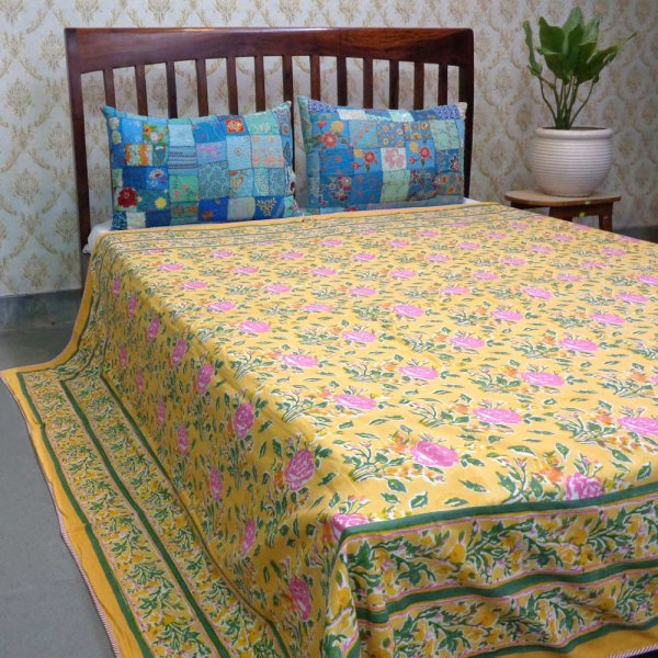 Hand Block Printed Cotton Dohar Queen Size | Roseline Yellow 100757