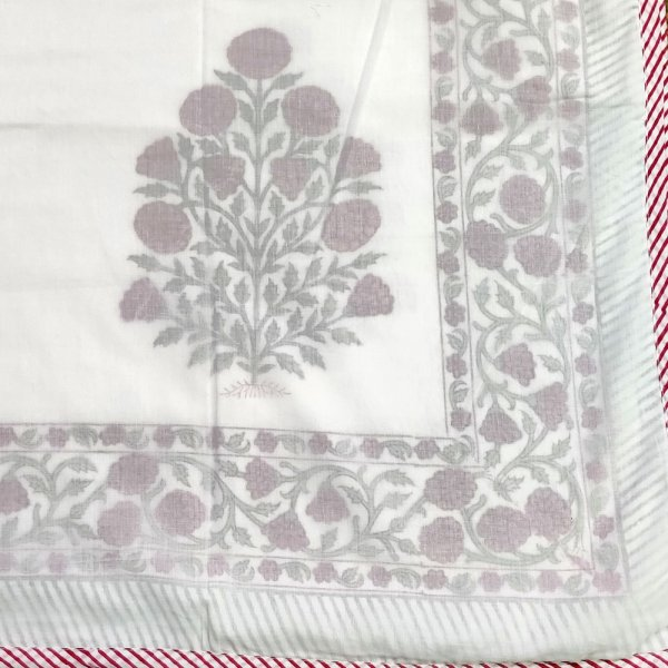 SHEER DOHAR Bedspread Hand Block Printed Cotton Queen Size Dohar | 102476