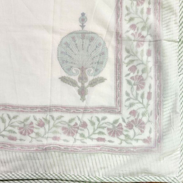 SHEER DOHAR Bedspread Hand Block Printed Cotton Queen Size Dohar | 102496
