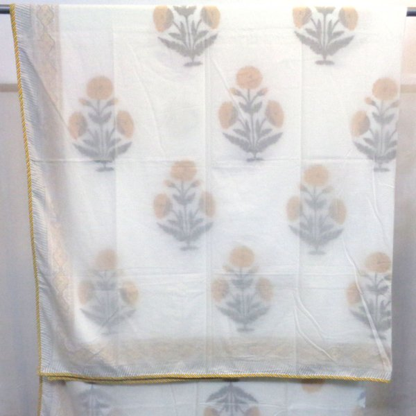 SHEER DOHAR Bedspread Hand Block Printed Cotton Queen Size Dohar | 109501