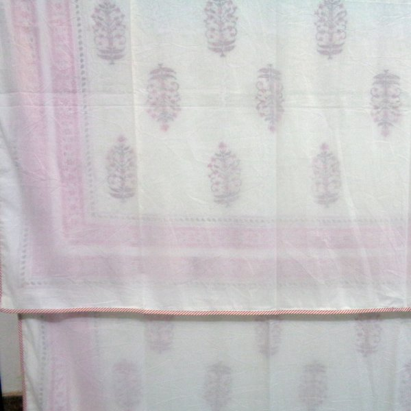 SHEER DOHAR Bedspread Hand Block Printed Cotton Twin Size Dohar | Bush Flower Pink Boota 108855