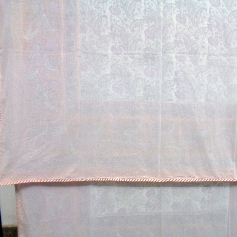 SHEER DOHAR Bedspread Hand Block Printed Cotton Twin Size Dohar | Pink Paisley Open 109019