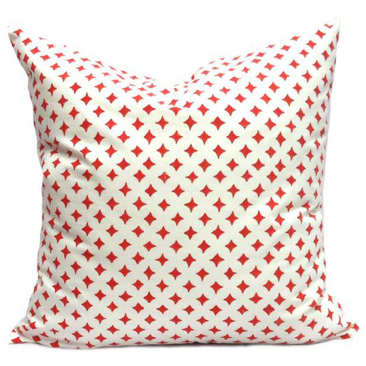 Hand Block Printed Cushion Cover 50 x 50 | Dotty Red 0669