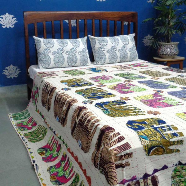 Applique Elephant Cut work Bedsheet Handmade 1763