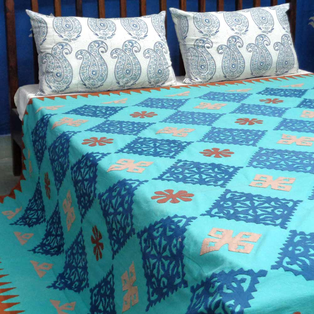 BEDSPREAD APPLIQUE QUEEN 0912 Color TEAL
