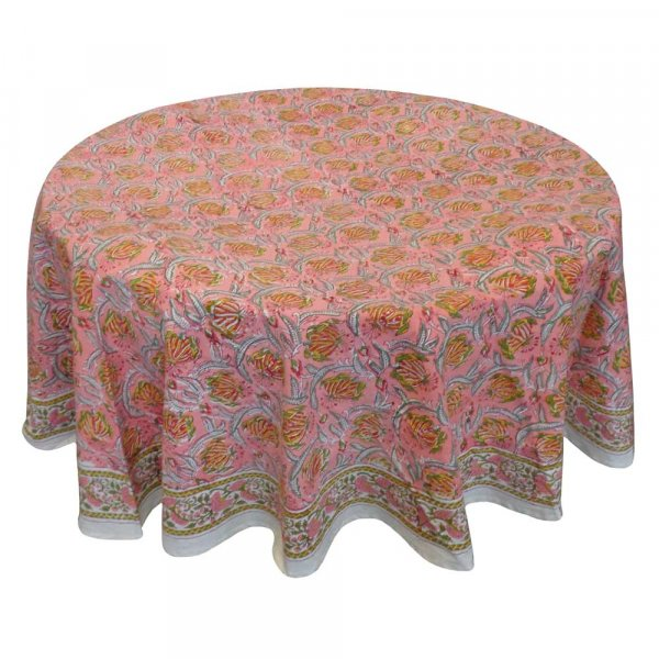 Hand Block Printed Cotton Round Tablecloth 220 cm | Frost Pink Floral Gud 102394