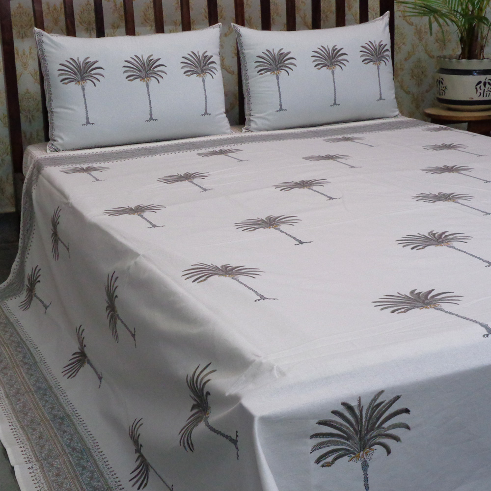 Hand Block Printed Cotton Queen Size Bedspread | Palm Tree Grey 100456